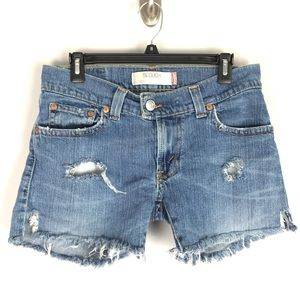 Levi's 504 slouch jean shorts cut off mid rise